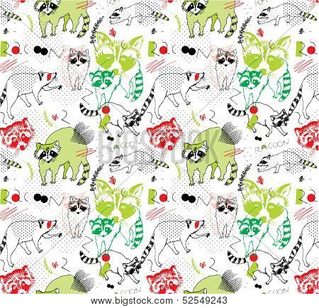 seamless pattern with raccoons