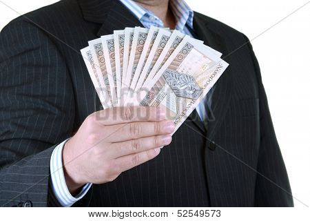 Businessman hand's with money, isolated over white background