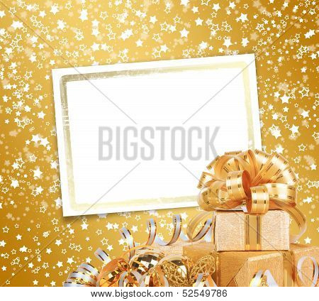 Greeting Card With Frame On A Beautiful Background With Bokeh Effect
