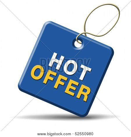 hot offer icon or sign for online webshop. Internet web shop concept. shopping sales button announcing bargain for low and best price with the best value for you money.