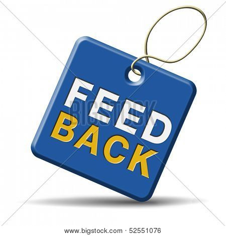 feedback icon or button for customer surveys and testimonials.