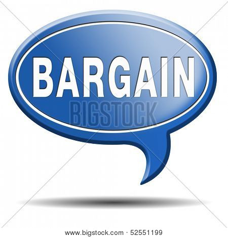 bargain icon or button. Lowest price and great sales deal and reduction or sale promotion with special price cut. Blue text balloon.
