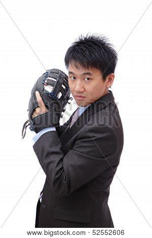 Young Business Man Pitching Baseball