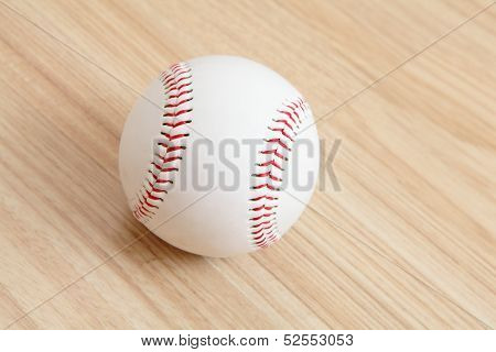 Baseball With Wood Background