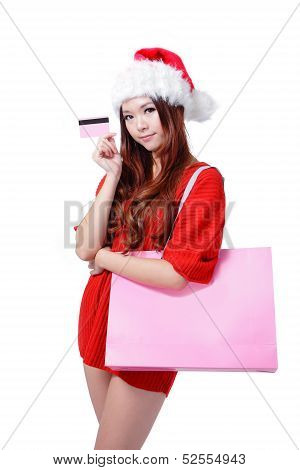 Beauty Girl Take Credit Card And Shopping Bag