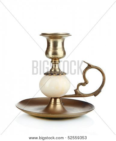 Old candleholder isolated on white