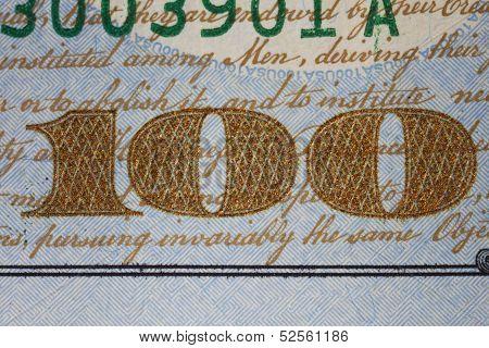New Us One Hundred Dollar Bill Detail