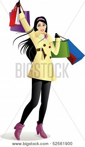 Shopping Girl In Yellow