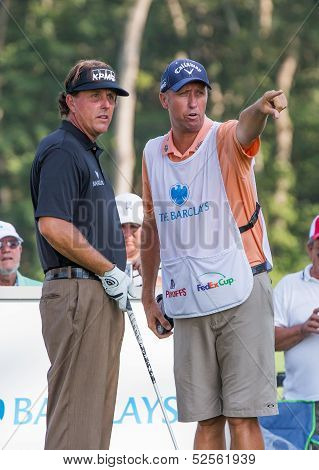 Phil Michelson And His Caddy At The 2012 Barclays.