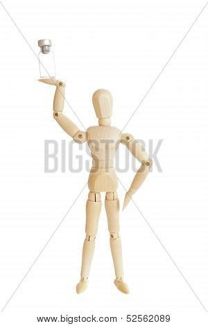 Wooden figure holding medicine injector bottle