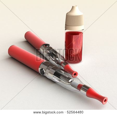 3D rendering of an e-cigarette with a bottle with liquid