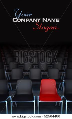 3D rendering of rows of black chairs and a red one