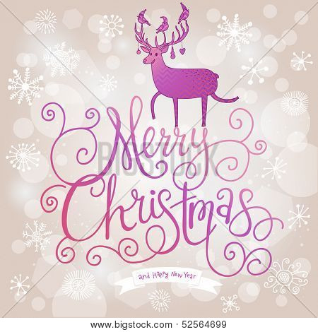 Stylish Merry Christmas card in modern violet colors. Deer silhouette on Merry Christmas text in vector. Beautiful snowfall on bright background with bokeh effect. Ideal for holiday invitations