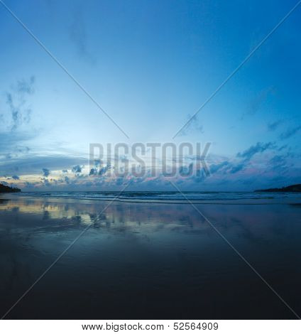 Evening On The Beach - Beautiful Reflection Of Clouds