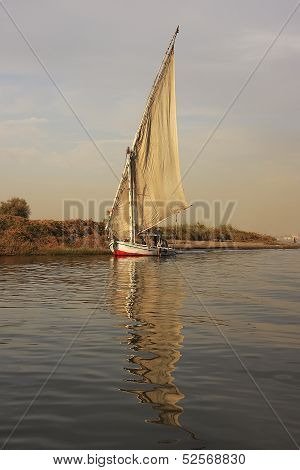 Felucca Boats Sailing On The Nile River, Luxor