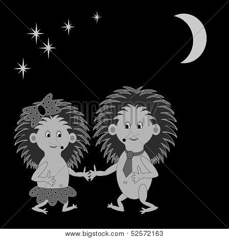 A Couple Of Funny Cartoon Hedgehogs Dating In The Night