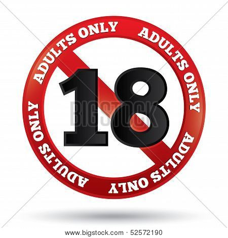 Adults only content sign. Vector age limit icon