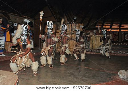 Zulu Dancers In Ritual Costumes(South Africa)