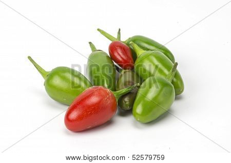 Green and red chilis