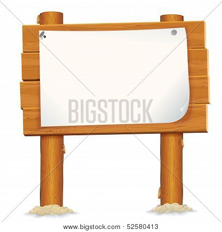 Wooden Billboard Sign with Paper Sheet