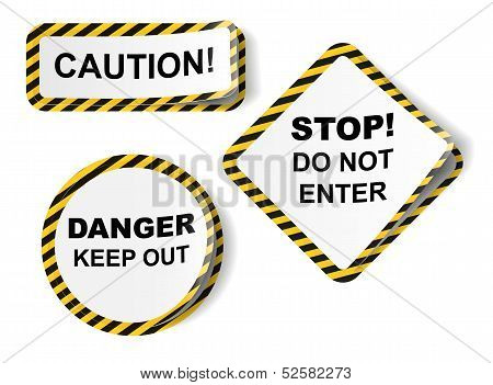 Vector stickers with danger tape