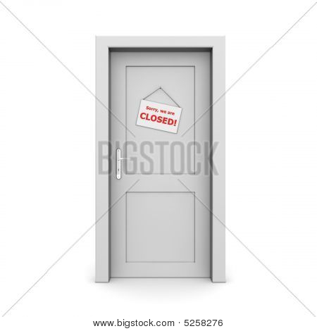 Closed Grey Door With Door Sign
