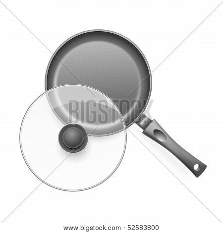 Frying pan with glass lid.