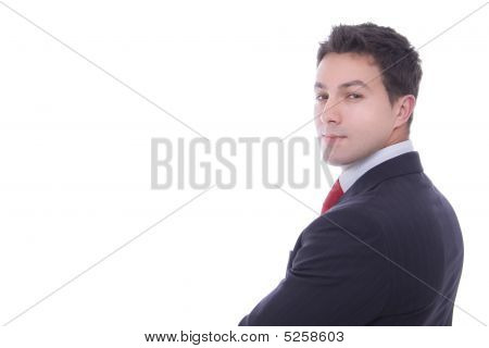 Portrait Of Merry Young Successful Businessman