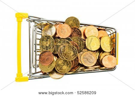 a shopping cart is filled with euro coins. symbolic photo for purchasing power and consumption