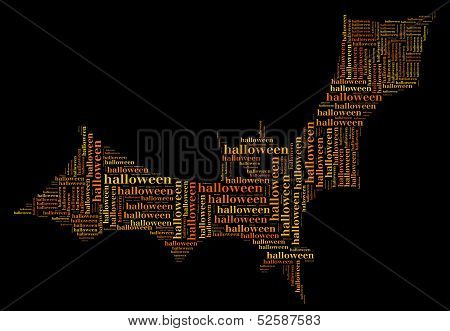 Tag Or Word Cloud Halloween Related In Shape Of Bat