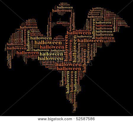 Tag Or Word Cloud Halloween Related In Shape Of Ghost