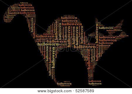 Tag Or Word Cloud Halloween Related In Shape Of Cat