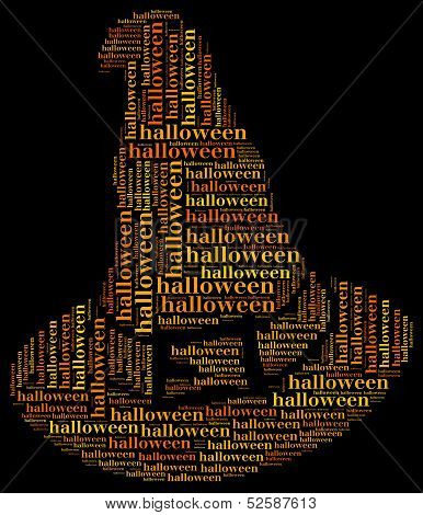 Tag Or Word Cloud Halloween Related In Shape Of Witch Hat
