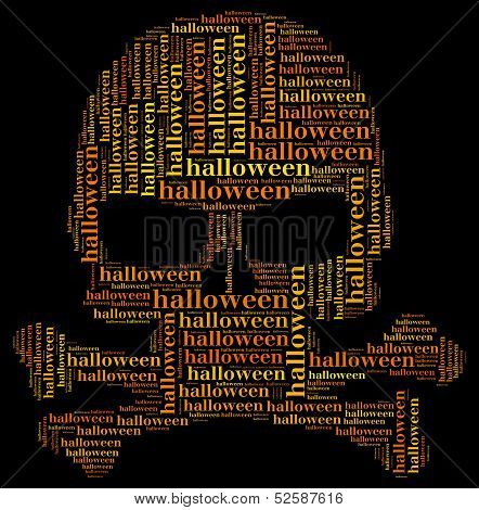 Tag Or Word Cloud Halloween Related In Shape Of Skull
