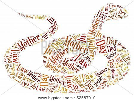 Tag Or Word Cloud Mother In Law Day Related In Shape Of Snake