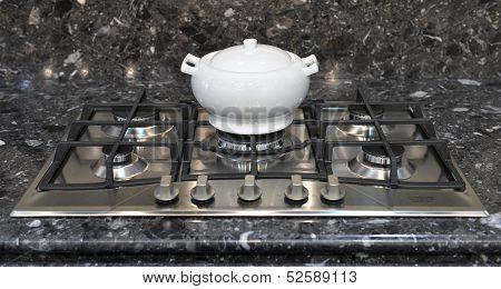 Ceramic Pot On A Gas Stove