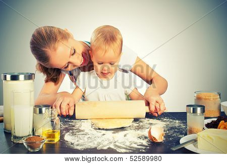 Baby Girl With Her Mother Cook, Bake