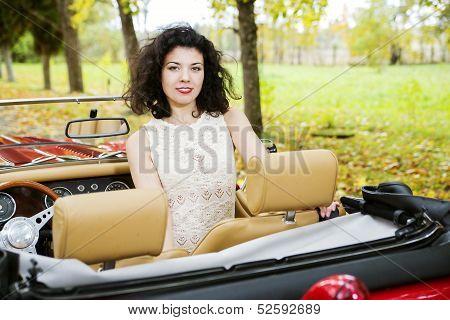 Woman At Car On Passanger Seat