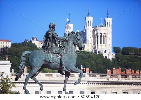 Famous Statue Of Louis Xiv And Basilique Of Notre Dame De Fourviere