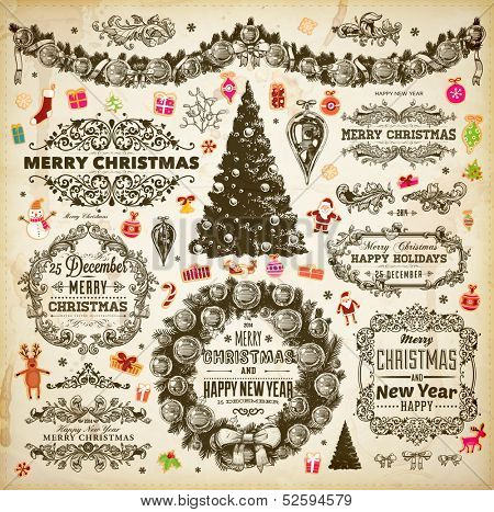 Christmas decoration collection | Set of calligraphic and typographic elements, frames, vintage labels. Ribbons, stickers, borders, deer, Santa and snowman, Xmas tree with baubles, holiday wreath.