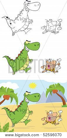 Angry Dinosaur Chasing A Caveman  Collection Set
