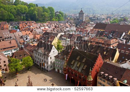 Bird Eye View Of Buildings In Freiburg Im Breisgau, Germany