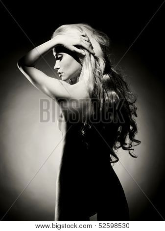 Black and white fashion art photo of sexual beauty blonde