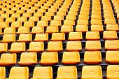 stock photo of grandstand  - some seat grandstand in an empty stadium   - JPG