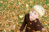 stock photo of throw up  - a cute smiling young boy is looking up in the air as leaves fall around him while playing outside on an autumn day - JPG