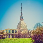 foto of torino  - Vintage looking The Mole Antonelliana Turin  - JPG