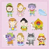 stock photo of cinderella  - cute cartoon story people icons - JPG