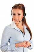 stock photo of helpdesk  - Call center operator isolated on white - JPG
