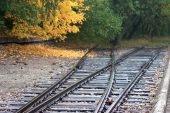 Railway line in Nazi camp Buchenwald, Germany 2