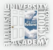 A door opening to the words It's Your Future surrounded by terms such as college, university, school